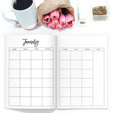 Load image into Gallery viewer, Monthly Planner TN, Undated-Travelers Notebook-Undated monthly TN to fit 10 different traveler's notebook sizes, including A5, Half Sheet, Passport, Personal, Pocket, Micro, A6, B6, Cahier, and Standard.-Confetti Saturday