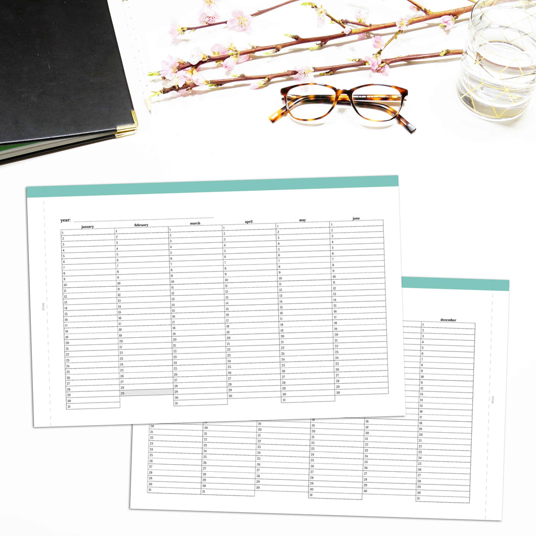 Fold Out Yearly Planner, Undated | Classic-Rings and Disc Planner-Confetti Saturday
