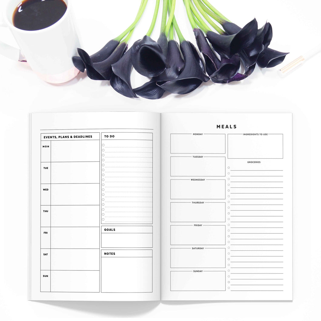 All-Inclusive Monthly Planner TN, Undated-Travelers Notebook-All-inclusive monthly traveler's notebook. Weekly planner with calendar, meals, budget and overview in 11 sizes.-Confetti Saturday
