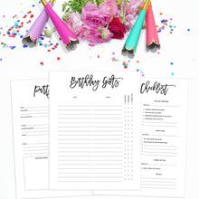 Load image into Gallery viewer, Birthday Party Planner Inserts | City