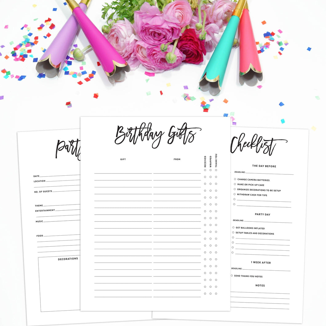 Birthday Party Planner Inserts | City