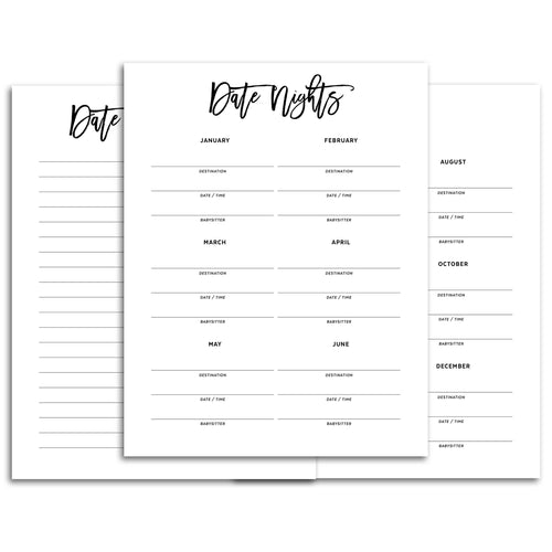 date night planner page refill