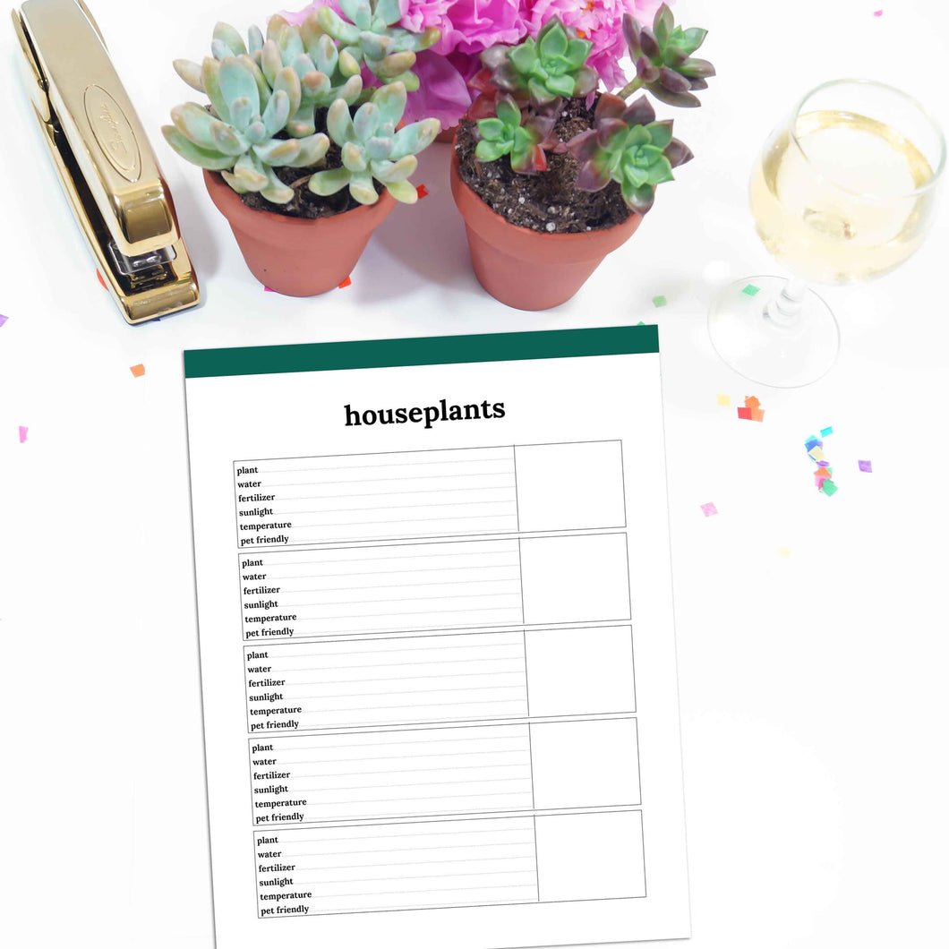 Houseplant Planner Page | Classic-Rings and Disc Planner-Confetti Saturday
