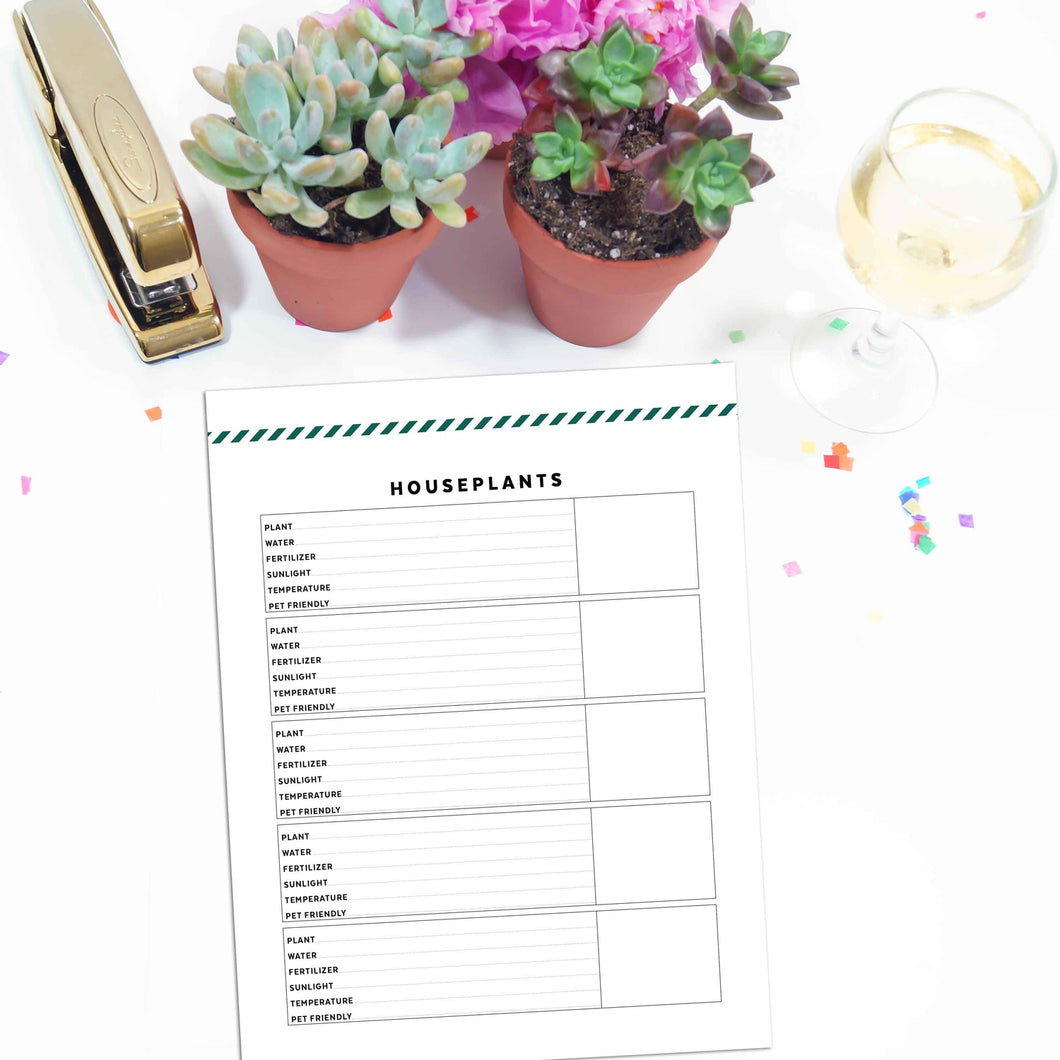 Houseplant Planner Page | Signature Stripe