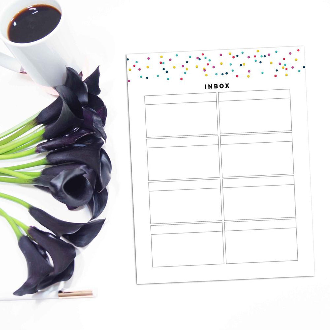 Inbox List Page | Signature Confetti-Rings and Disc Planner-Inbox list planner refill. Just like your email inbox, keep ideas on hand until you are ready to spend more time on them. 12 Pages, Undated, Printable.-Confetti Saturday