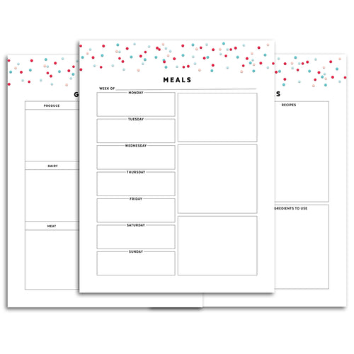 Printable-Meal Planner | Signature Confetti-Rings and Disc Planner-Confetti Saturday