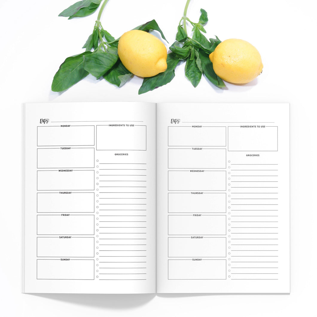 Meal Planner TN-Travelers Notebook-Meal planner TN to fit 10 different traveler's notebook sizes, including A5, Half Sheet, Passport, Personal, Pocket, Micro, A6, B6, Cahier, and Standard.-Confetti Saturday