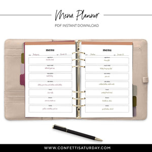 Menu Printable Planner Inserts-Confetti Saturday