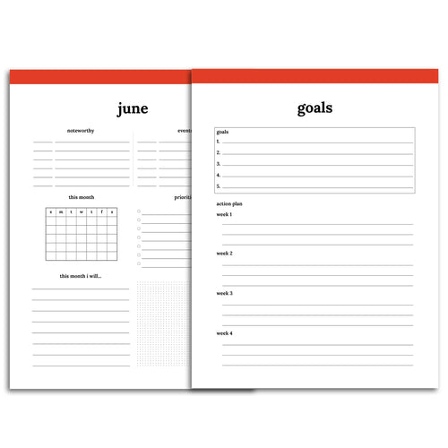Monthly Goal Planner | Classic-Rings and Disc Planner-Confetti Saturday