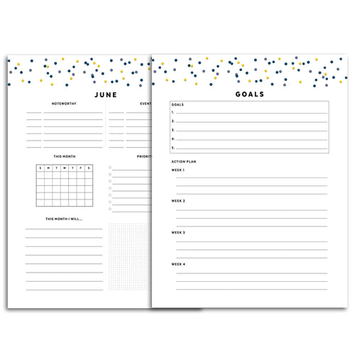 Printable-Monthly Goal Planner | Signature Confetti-Rings and Disc Planner-Confetti Saturday