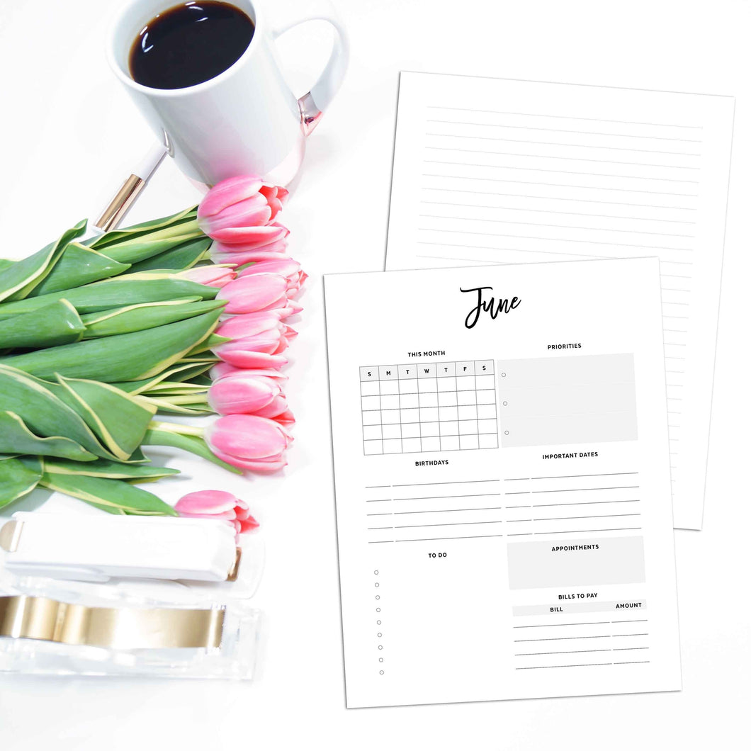 Monthly Overview Planner Inserts | City