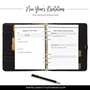 New Year's Resolutions Planner Page-Confetti Saturday