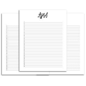 List Monthly Calendar Planner | City