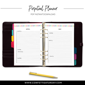 Monthly List Planner-Confetti Saturday