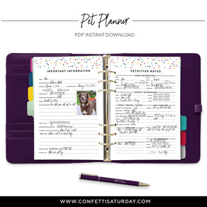 Printable Pet Planner Refill for Dogs-Confetti Saturday