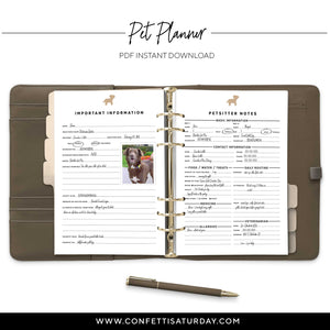 Pet Planner Inserts for Rings and Discs Planners-Confetti Saturday