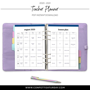 Teacher Lesson Planner-Confetti Saturday