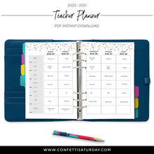 Load image into Gallery viewer, July 2020- June 2021 Planner Teacher. -Confetti Saturday