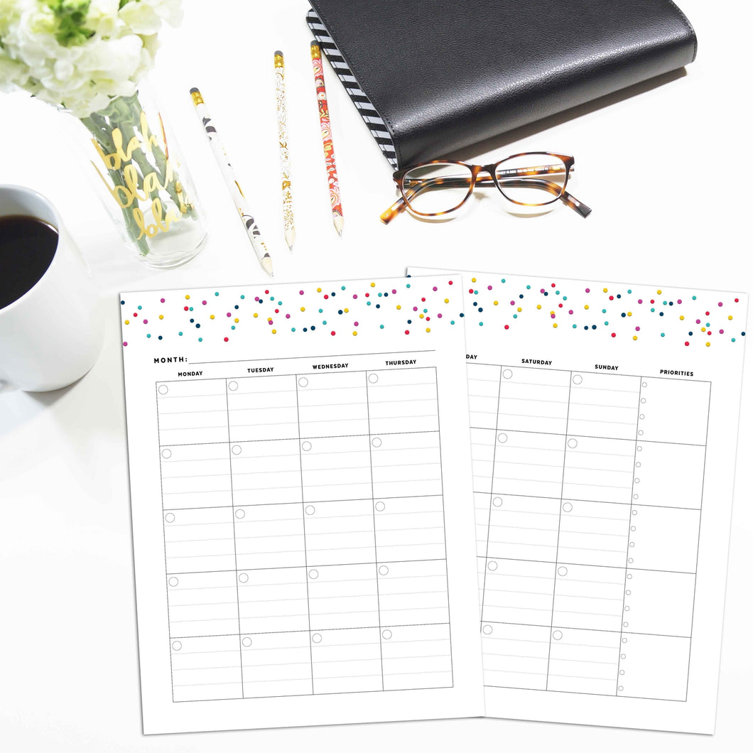 Monthly Priorities Planner, Undated | Signature Confetti