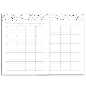 Printable-Monthly Priorities Planner, Undated | Signature Confetti-Rings and Disc Planner-Confetti Saturday