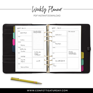 Weekly To Do List Planner Pages-Confetti Saturday