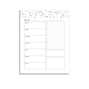Printable-Weekly Planner, Undated v1 | Signature Confetti-Rings and Disc Planner-Confetti Saturday