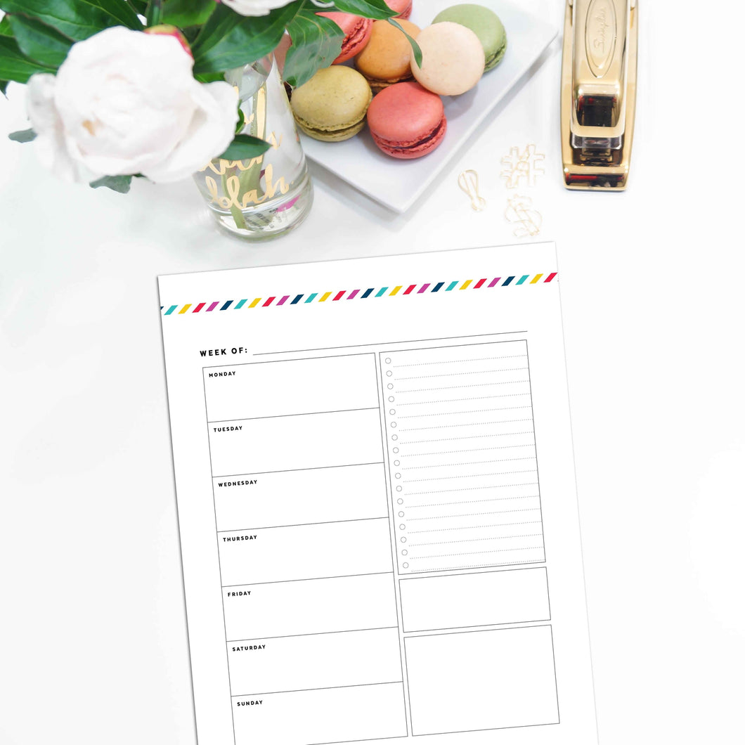 Weekly Planner, Undated v1 | Signature Stripe