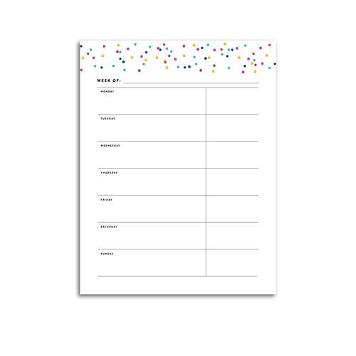 Printable-Weekly Planner, Undated v3 | Signature Confetti-Rings and Disc Planner-Confetti Saturday