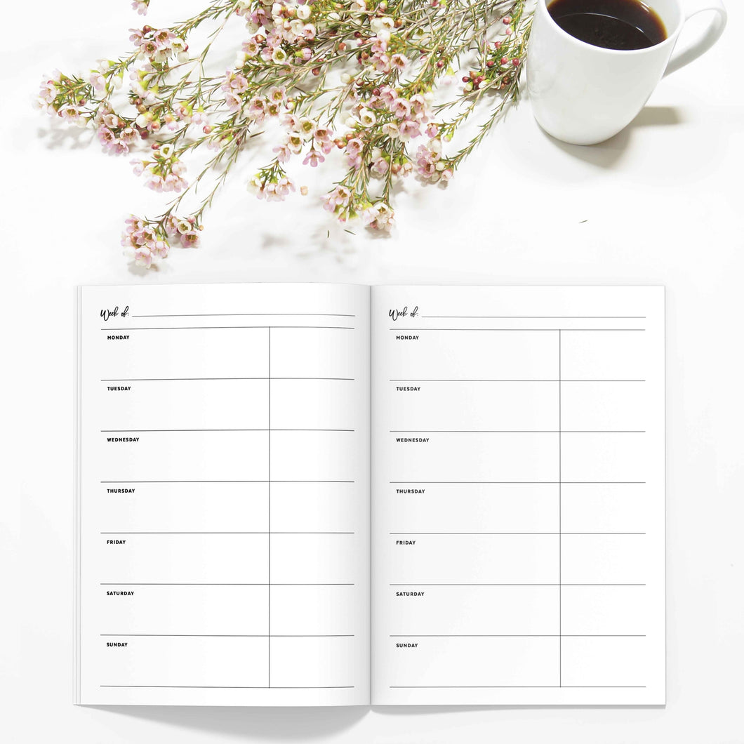 Weekly Planner TN, Undated v3-Travelers Notebook-Weekly TN insert to fit 10 different traveler's notebook sizes, including A5, Half Sheet, Passport, Personal, Pocket, Micro, A6, B6, Cahier, and Standard.-Confetti Saturday
