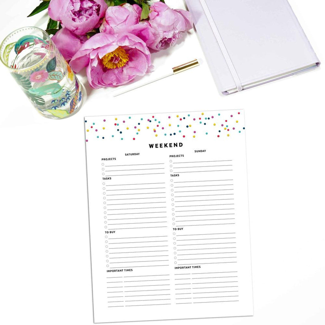 Weekend Planner Page | Signature Confetti