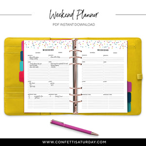 Weekend Planner Pages - Printed and Printable-Confetti Saturday
