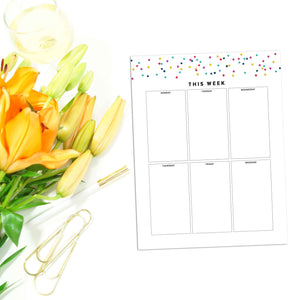 Weekly Planner Boxes Page | Signature Confetti