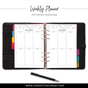 Weekly Boxes Planner Pages-Confetti Saturday