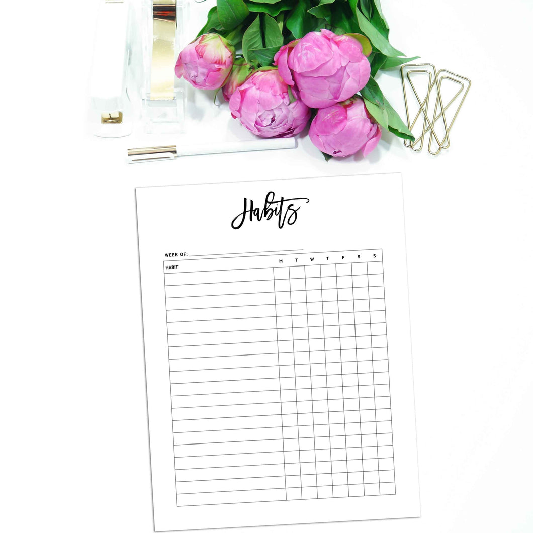 Weekly Habit Tracker Planner Inserts | City