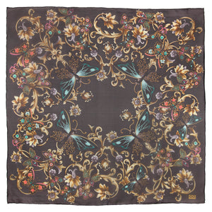 luxury silk foulard made-in-italy large size light texture flower butterfly print