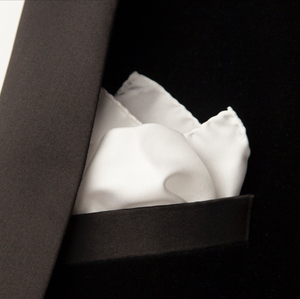 luxury white pocket square pure silk made-in-italy