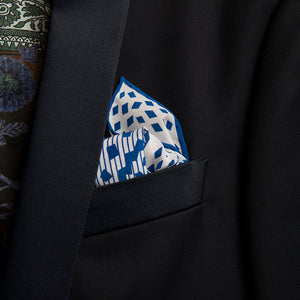 luxury pocket square pure silk made-in-italy hand rollled edges art-deco geometric inspired