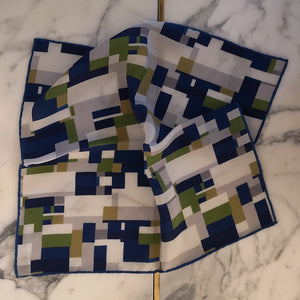 luxury pocket square pure silk made-in-italy hand rollled edges Mondrian inspired