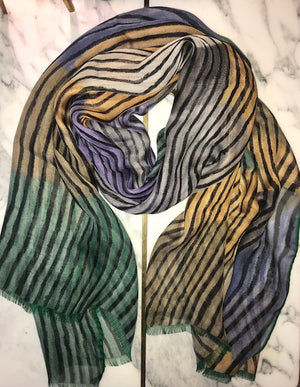 luxury scarf pure silk made-in-italy Picasso painting inspired