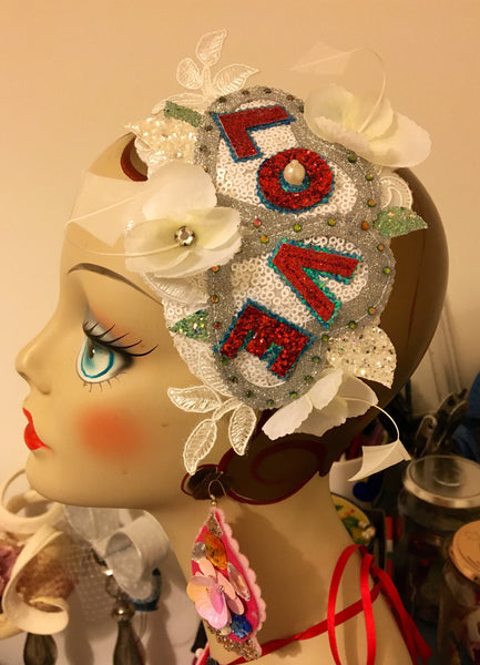 Bridal vintage style LOVE appliqué hat on hair-band