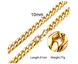 Mens Stainless Steel Gold Cuban Link Chain 10mm