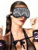 Divine Black and White Lace and Satin Eye Mask
