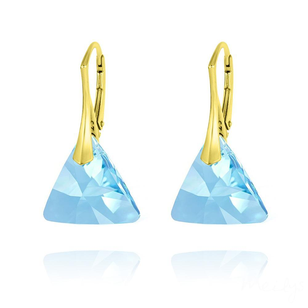 24K Gold Plated  Aquamarine  Triangle earrings with Swarovski Crystal