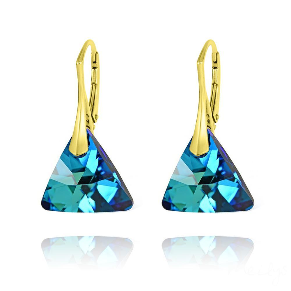 Gold Plated Bermuda Blue Triangle earrings with Swarovski Crystal