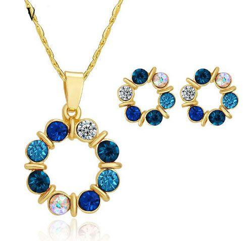 Gold Crystal Beads Necklace Set blue