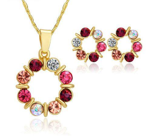 Gold Crystal Beads Necklace Set red