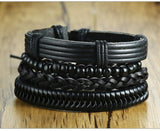 4 Piece Set Handmade Black Adjustable Mens Bracelet Set