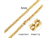 Mens Stainless Steel Gold Cuban Link Chain 5mm
