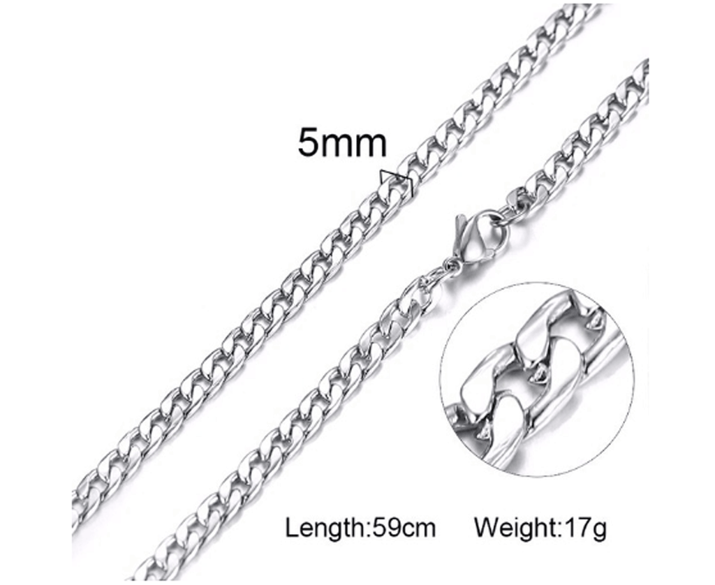 Mens Stainless Steel Silver Cuban Link Chain 5mm
