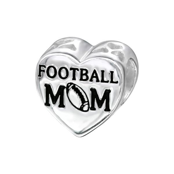 Silver Heart Football Mom Charm Bead